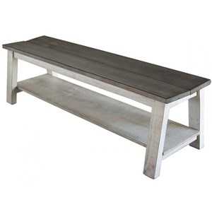 Relaxed Vintage Solid Wood Bench with Shelf