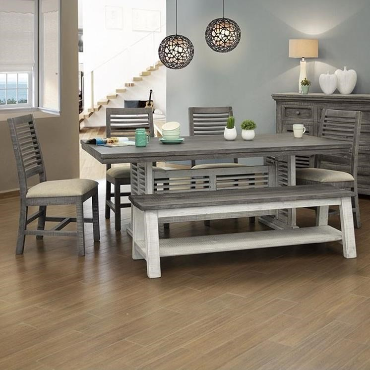 Stone Table And Chair Set With Bench by International Furniture Direct at Catalog Outlet