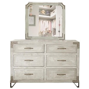 6 Drawer Dresser Mirror Combo with Wrought Iron Detail