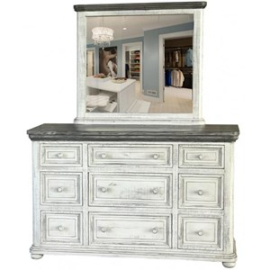 Transitional Solid Wood 9 Drawer Dresser and Mirror