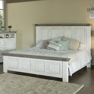 Transitional Solid Wood California King Panel Bed