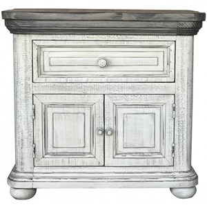 Transitional Solid Wood Nightstand with Microfiber Lined Top Drawer