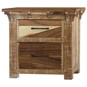 Rustic Two Drawer Night Stand