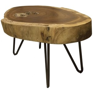 Industrial Live Edge Solid Wood End Table