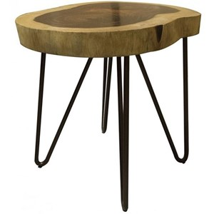 Industrial Live Edge Solid Wood Chair Side Table
