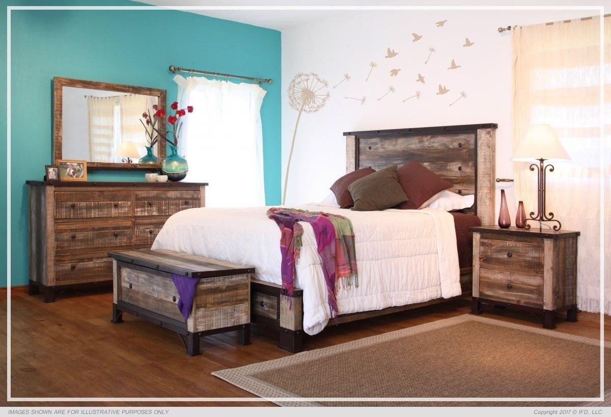 900 Antique King Platform Bed Package by International Furniture Direct at Sam Levitz Outlet