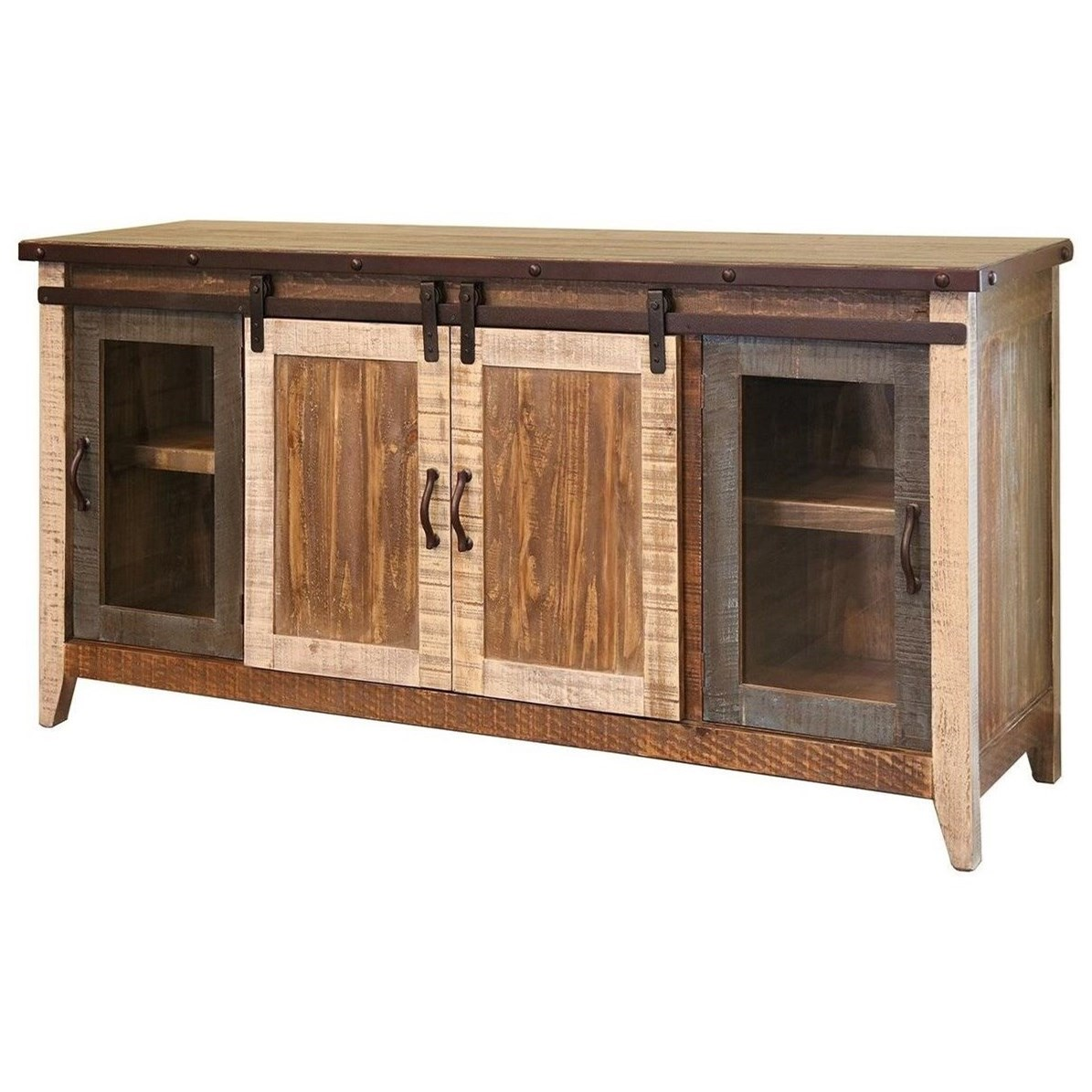 """900 Antique 70"""" TV Stand with Sliding Doors by International Furniture Direct at Catalog Outlet"""