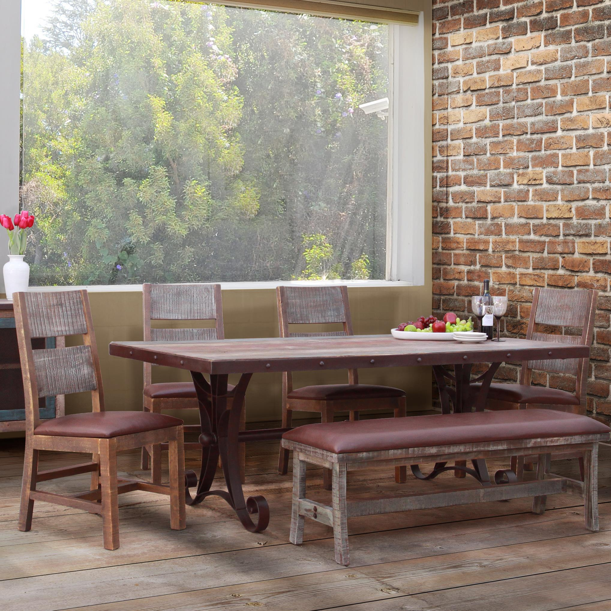 900 Antique 6 Piece Dining Set with Bench by IFD International Furniture Direct at Suburban Furniture