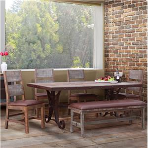 International Furniture Direct 900 Antique 6 Piece Dining Set with Bench