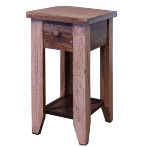 Chair Side Table with 1 Drawer and Iron Mesh Shelf