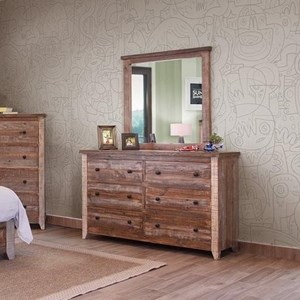 International Furniture Direct 900 Antique Dresser and Mirror Set