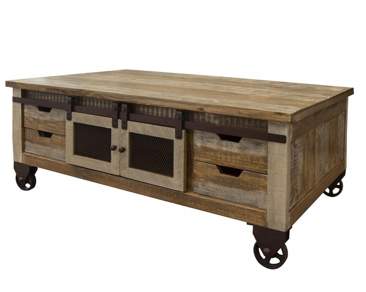 900 Antique Cocktail Table with 4 Doors and 8 Drawers by International Furniture Direct at Westrich Furniture & Appliances