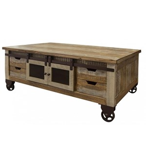 Rustic Cocktail Table with 4 Doors and 8 Drawers