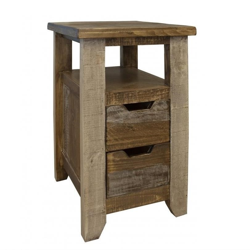 900 Antique Two Drawer Chairside Table by International Furniture Direct at Sparks HomeStore