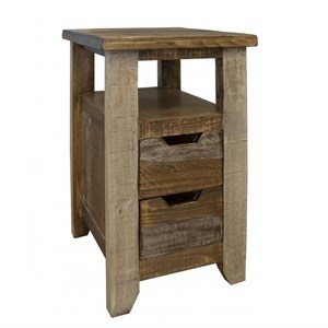 Rustic Two Drawer Chairside Table