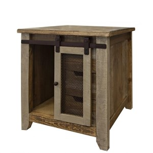 Rustic End Table with 1 Door and 3 Drawers