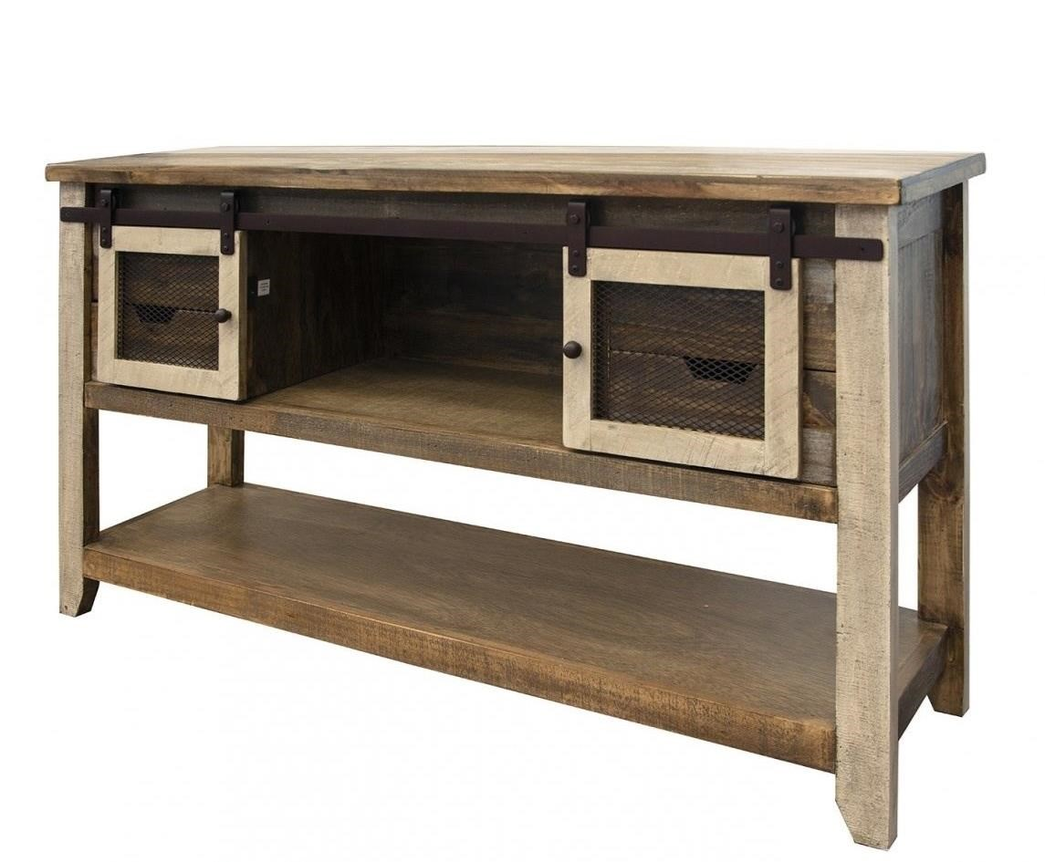 900 Antique Sofa Table with 2 Doors and 4 Drawers by International Furniture Direct at Pedigo Furniture