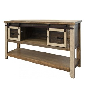 Rustic Sofa Table with 2 Doors and 4 Drawers