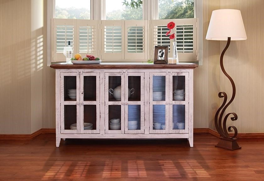 """926 Antique White 71"""" Console with Glass Doors by International Furniture Direct at O'Dunk & O'Bright Furniture"""