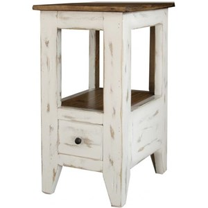Transitional Solid Wood 1 Drawer Chair Side Table