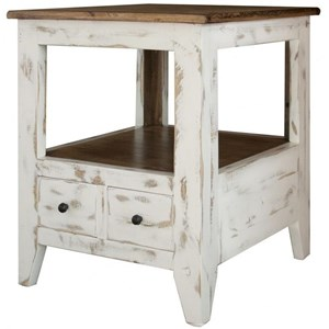 Transitional Solid Wood 2 Drawer End Table