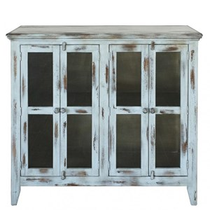 Rustic 4 Door Solid Wood Accent Console