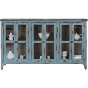 Rustic 6 Door Solid Wood Accent Console