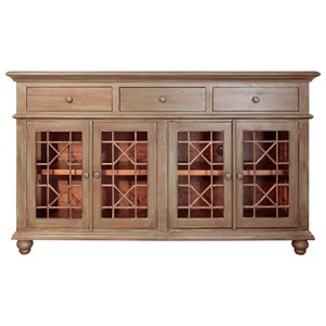 Primitive Console with 4 Glass Doors