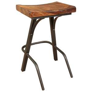 "Contemporary 24"" Stool with Wooden Seat and Iron Base"