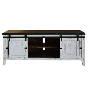 "Rustic 68"" TV Stand with 2 Glass Doors and 2 Doors"