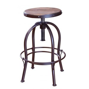 Rustic Adjustable Height Swivel Stool with Iron Base
