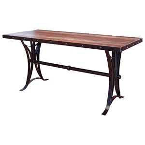 Rustic Counter Height Dining Table with Iron Base