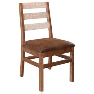 Rustic Ladderback Chair with Upholstered Seat