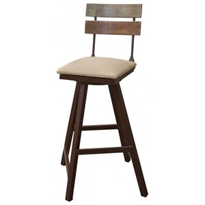 Rustic Swivel Barstool with Fabric Seat and Iron Base