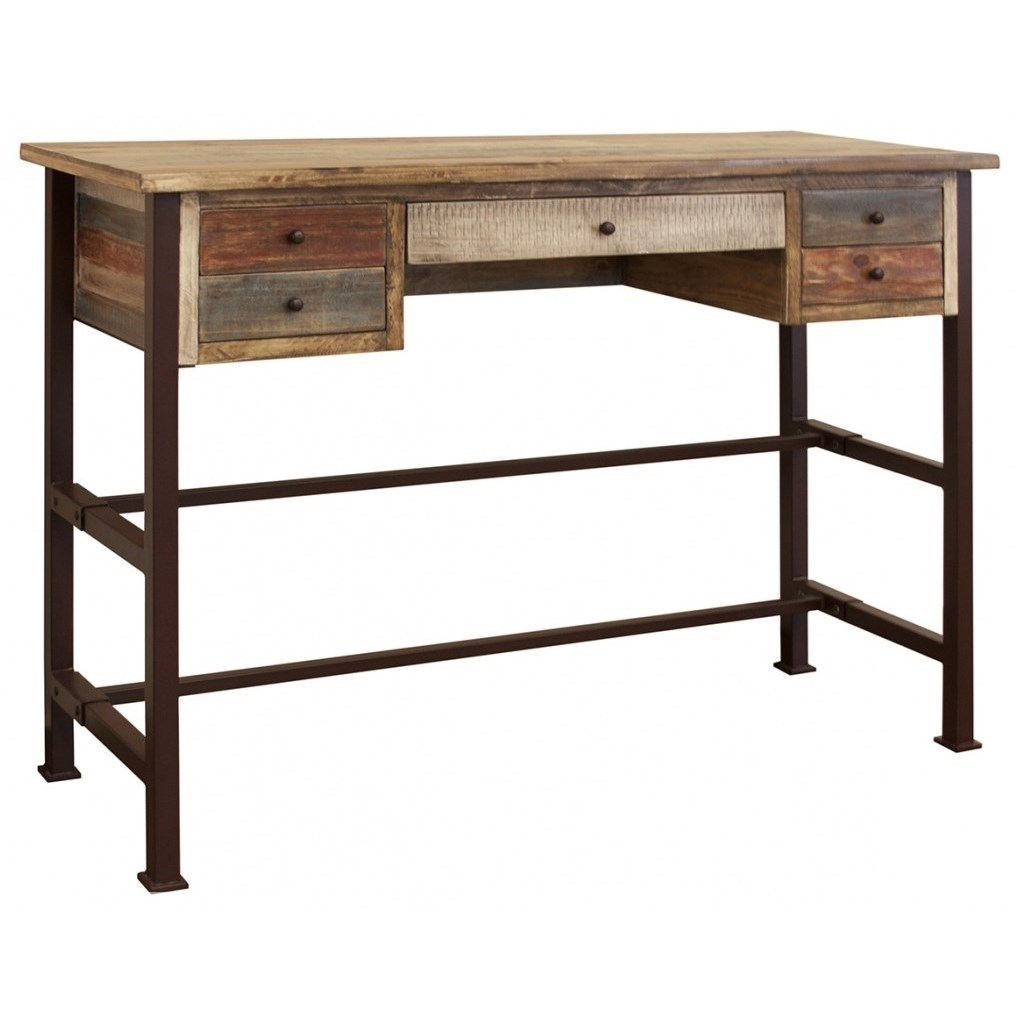 """Antique 42"""" High Desk w/ 5 Drawers by International Furniture Direct at Catalog Outlet"""