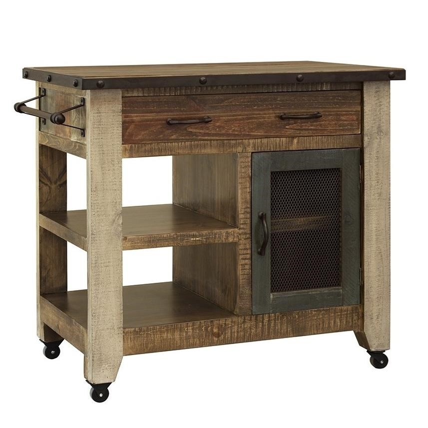 Antique Kitchen Island with 1 Drawer and 1 Door by International Furniture Direct at Zak's Home