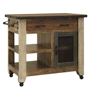 Rustic Kitchen Island with 1 Drawer and 1 Mesh Door