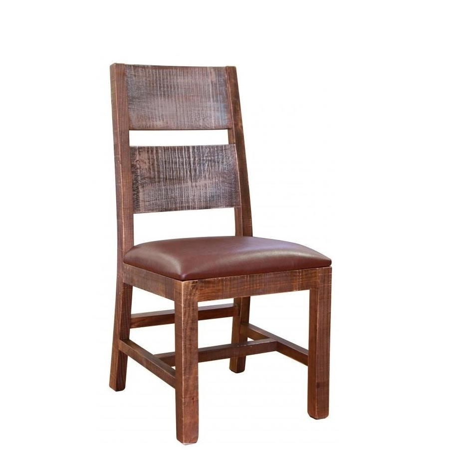 Antique Multicolor Chair with Faux Leather Seat by International Furniture Direct at Catalog Outlet