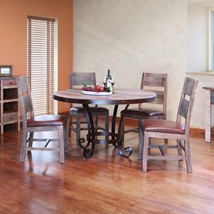 Rustic 5-Piece Dining Set with Round Table