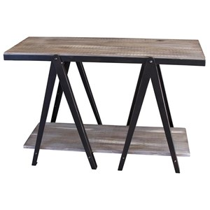Rustic Sofa Table with Iron Legs