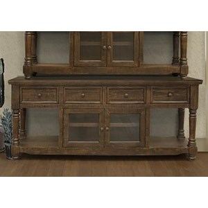 "Relaxed Vintage 80"" TV Stand with 4 Drawers and 2 Doors"