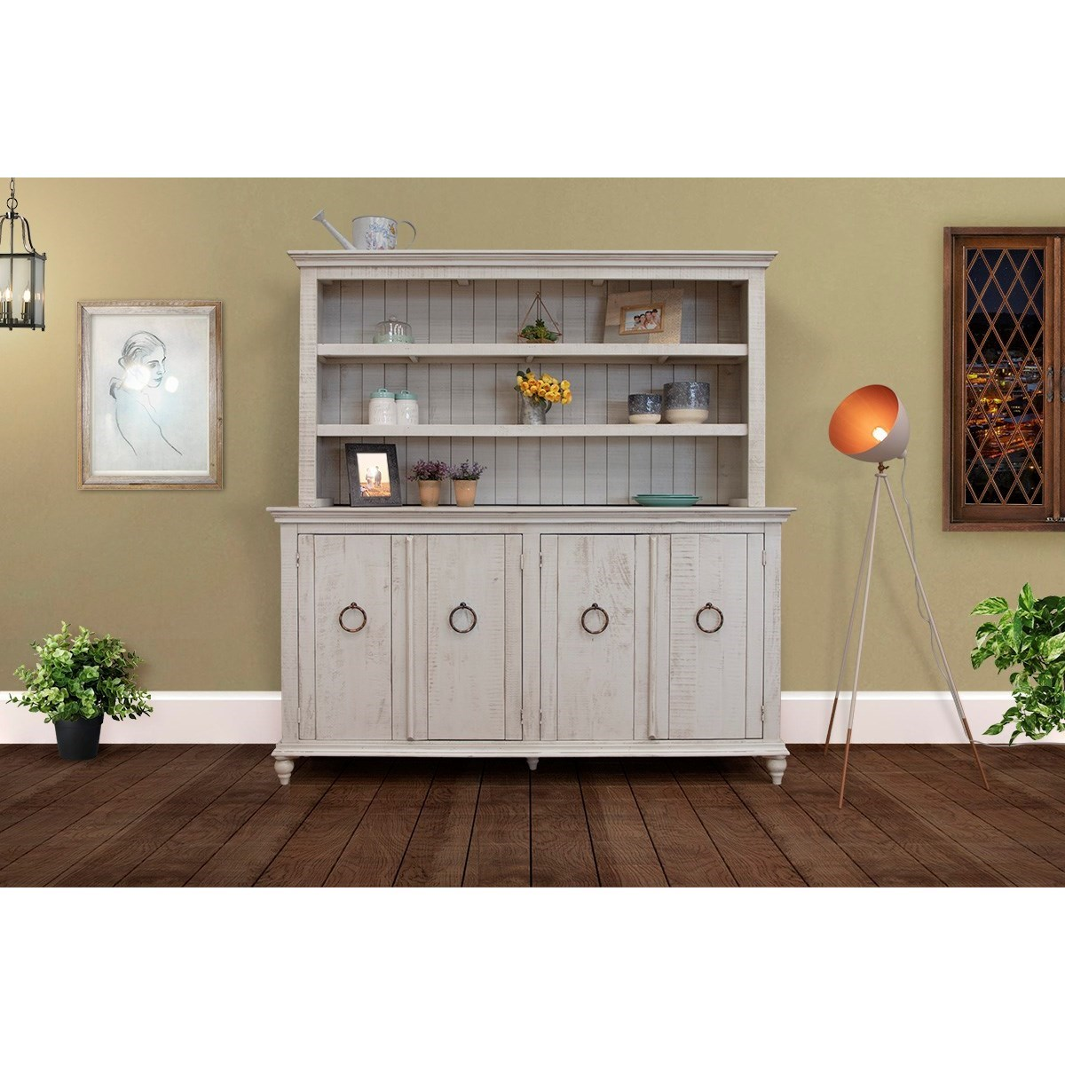 Capri Console and Hutch Set by International Furniture Direct at Miller Waldrop Furniture and Decor