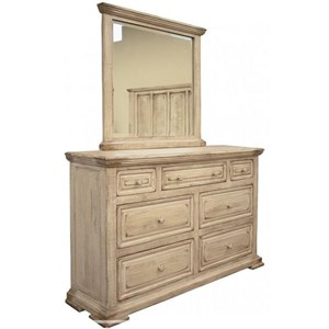 Transitional 7-Drawer Dresser and Mirror Set