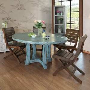 Coastal Cottage Round Distressed Dining Table and 4 Solid Wood Chairs Set