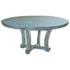 Coastal Cottage Round Distressed Dining Table