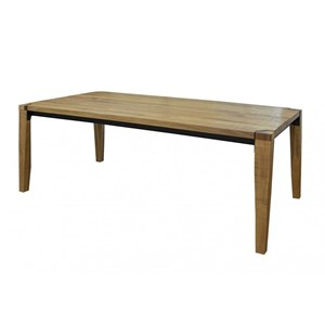 Rustic Solid Wood Table with Iron Frame