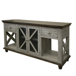 Relaxed Vintage 2-Drawer, 2-Door Sofa Table
