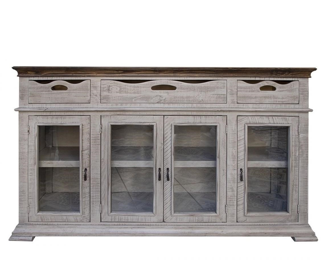 Gray Console with 3 Drawers and 4 Doors by International Furniture Direct at Darvin Furniture