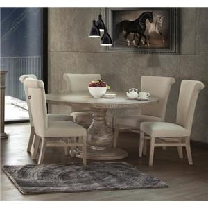Round Pedestal  Dining Table & 6 Upholstered Side Chairs