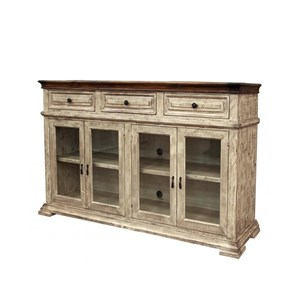 Rustic Console with Glass Doors